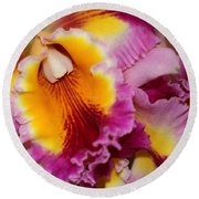 Pretty And Colorful Orchids Round Beach Towel