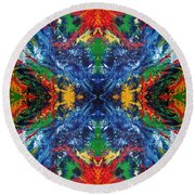 Primary Abstract I Design Round Beach Towel