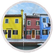 Primary Colors In Burano Italy Round Beach Towel