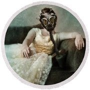 Princess In Gas Mask 2 Round Beach Towel