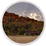 Protected By Hills Many Years Round Beach Towel