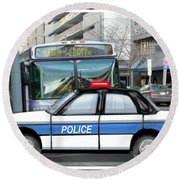 Proud Police Car In The City  Round Beach Towel