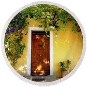 Provence Door Number 1 Round Beach Towel