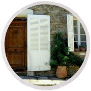 Provence Door Number 4 Round Beach Towel