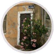 Provence Door Number 9 Round Beach Towel