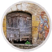 Provence Window And Wall Painting Round Beach Towel