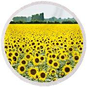 Provencial Sunflowers Round Beach Towel