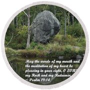 Psalm 19 V14a Round Beach Towel