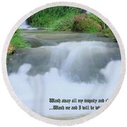Psalm 51 2 Round Beach Towel by Kristin Elmquist