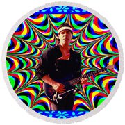 Psychedelia Within A Blue Framework Round Beach Towel