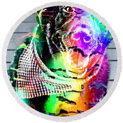Psychedelic Black Lab With Kerchief Round Beach Towel