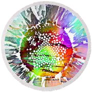 Psychedelic Daisy 2 Round Beach Towel