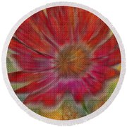 Psychedelic Flower Round Beach Towel