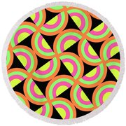 Psychedelic Squares Round Beach Towel by Louisa Knight