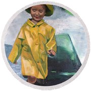 Puddles Round Beach Towel