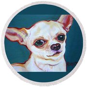 White Chihuahua - Puddy Round Beach Towel