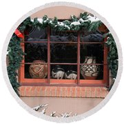 Pueblo Pottery Winter Window Round Beach Towel