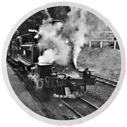 Puffing Billy Black And White Round Beach Towel