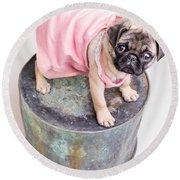 Pug Puppy Pink Sun Dress Round Beach Towel