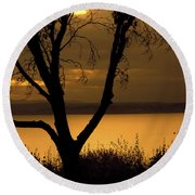 Pugent Sound Silhouetted Tree Round Beach Towel