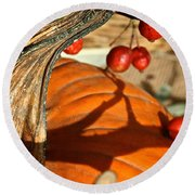 Pumpkin Berries Round Beach Towel