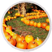 Pumpkin Patch Path Round Beach Towel by Carol Groenen