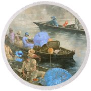 Punts On The Wey At Brooklands Round Beach Towel