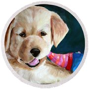 Pup And Toy Round Beach Towel