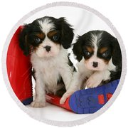 Puppies With Rain Boats Round Beach Towel