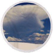 Pure White Sand And Mountain Storms Round Beach Towel