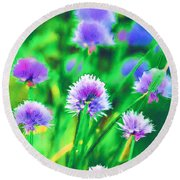 Purple And Green Chive Watercolor Round Beach Towel