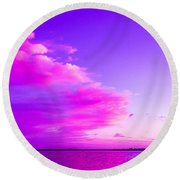 Purple And Pink Round Beach Towel