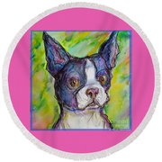 Purple Boston Terrier Round Beach Towel