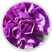 Purple Carnation Round Beach Towel