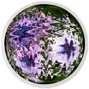 Purple Daisies World - Abstract Art Round Beach Towel