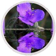 Purple Elegance - Spider Wort Round Beach Towel