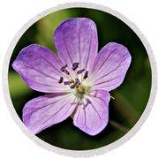 Purple Flower 1 Round Beach Towel