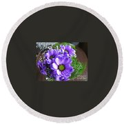 Purple Flowers In The Bubble Round Beach Towel