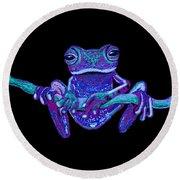Purple Ghost Frog Round Beach Towel