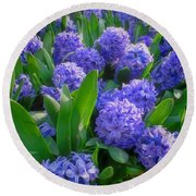 Purple Hyacinths Round Beach Towel