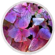 Purple Hydrangea Round Beach Towel