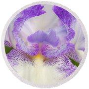 Purple Iris Bliss Round Beach Towel