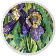 Purple Irises Round Beach Towel by Mindy Newman