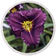 Purple Lilly Round Beach Towel