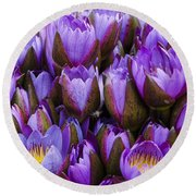 Purple Lotus Round Beach Towel