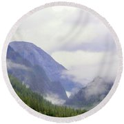 Purple Mountain Majesties Round Beach Towel by Mindy Newman