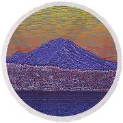 Purple Mountain Majesty Sunset Round Beach Towel