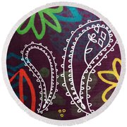 Purple Paisley Garden Round Beach Towel