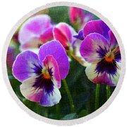 Purple Pansies Round Beach Towel
