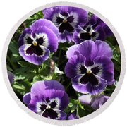 Purple Pansies Square Round Beach Towel